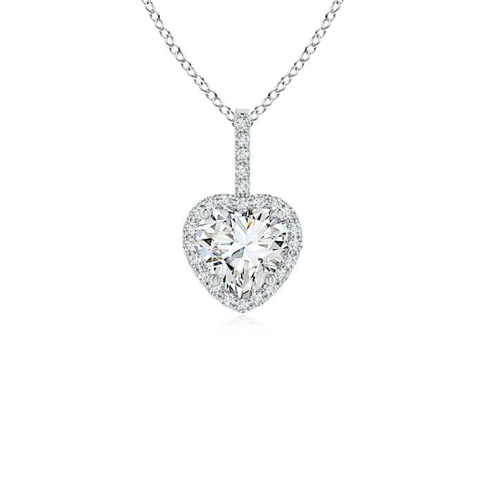 Heart Diamond Halo Pendant - Angara.com