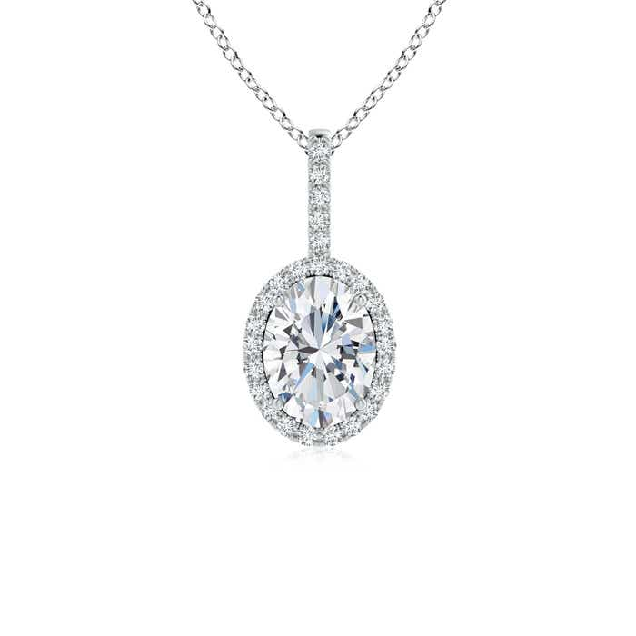 Oval Diamond Halo Pendant - Angara.com
