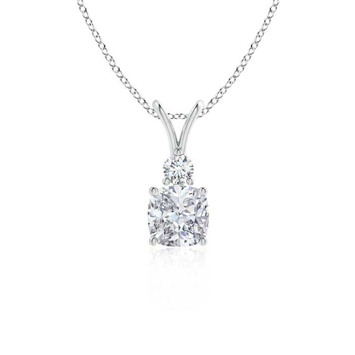 Solitaire Cushion Diamond V-Bale Pendant - Angara.com