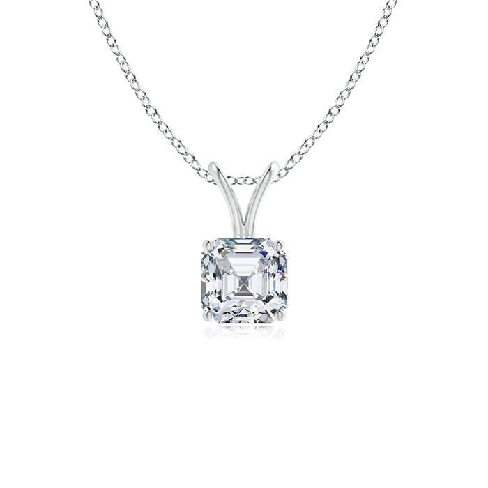 Classic Asscher Cut Diamond V-Bale Pendant - Angara.com