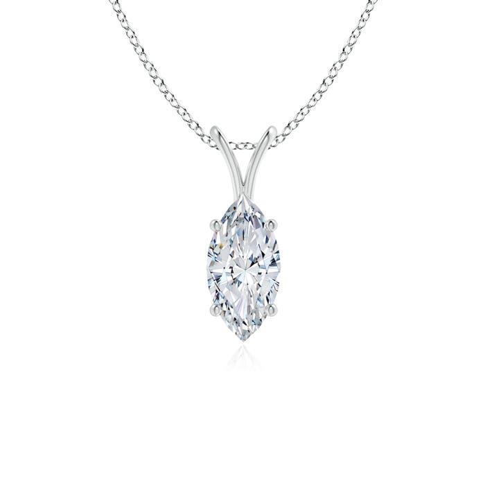 Classic Marquise Diamond V-Bale Pendant - Angara.com