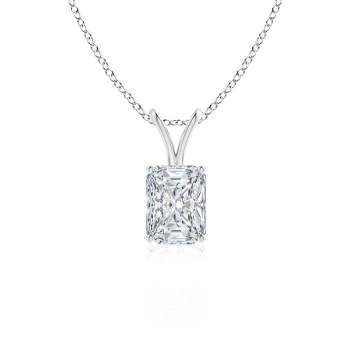 Classic Radiant Cut Diamond V-Bale Pendant - Angara.com