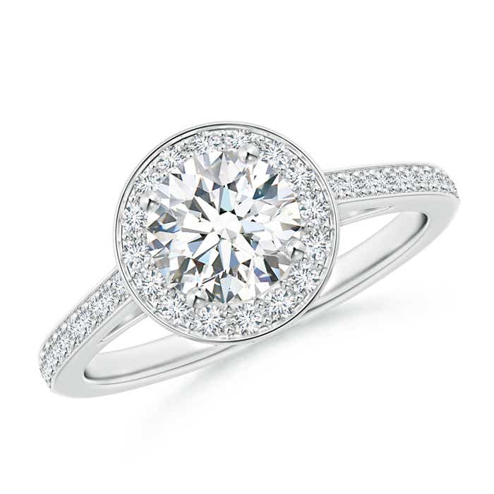 Cathedral Halo Diamond Ring with Diamond Accents - Angara.com