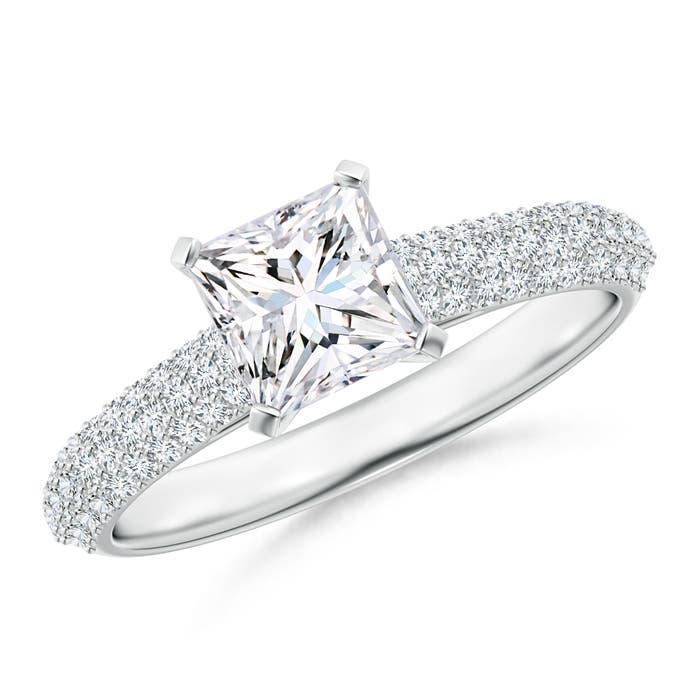 Princess Cut Solitaire Diamond Ring with Diamond Accent  - Angara.com