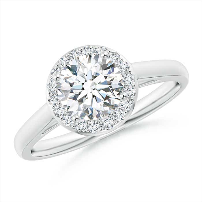 Classic Cathedral Halo Diamond Engagement Ring - Angara.com