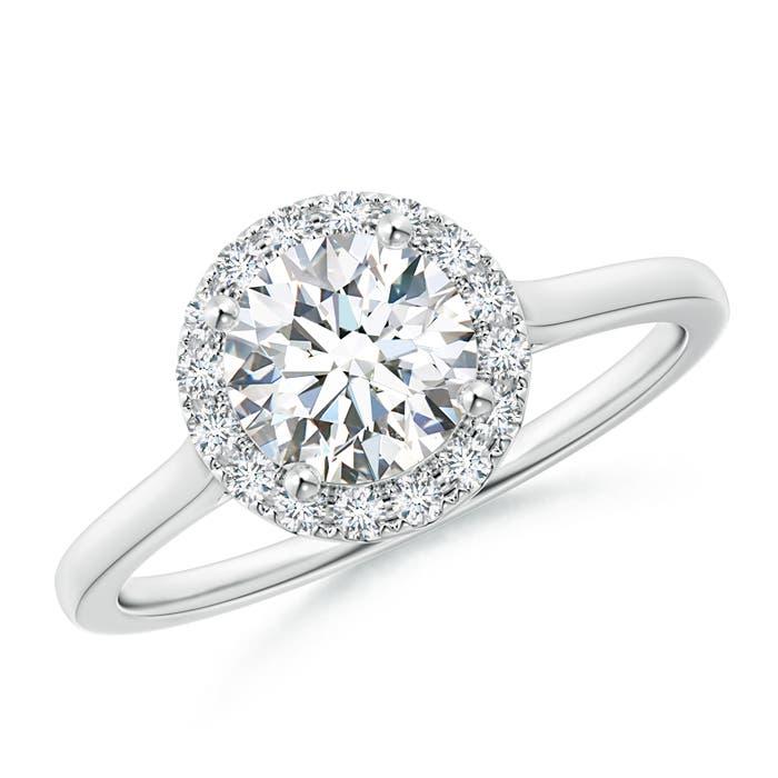 Classic Solitaire Round Diamond Halo Engagement Ring - Angara.com