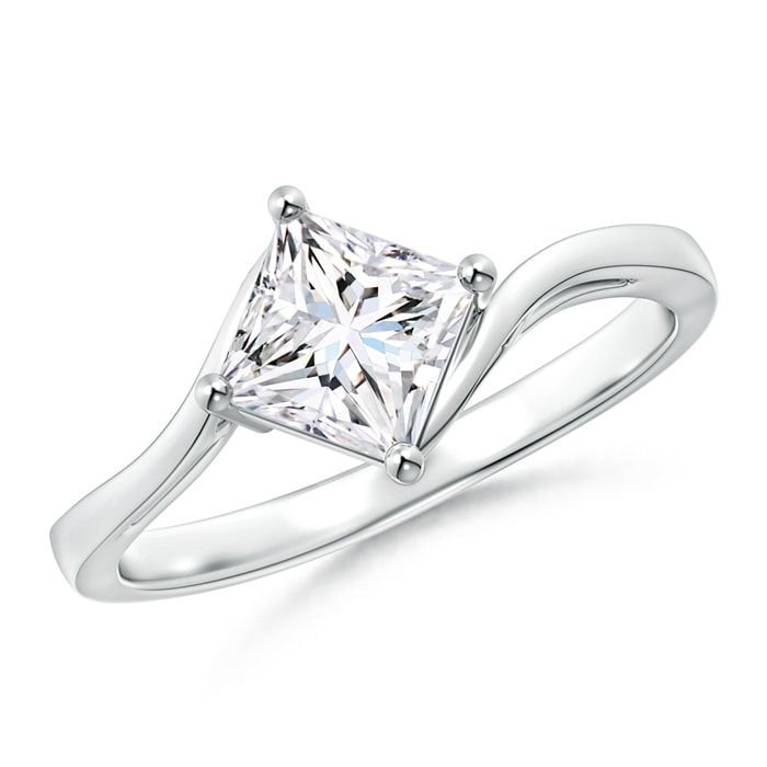 Solitaire Princess Cut Diamond Bypass Ring - Angara.com