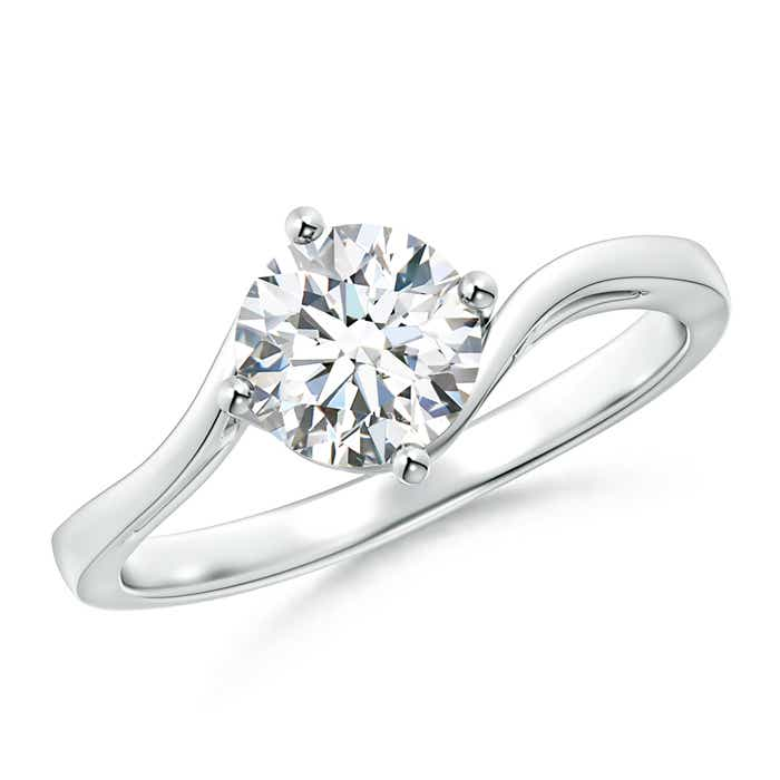 Single Stone Round Diamond Bypass Ring with Prong Set - Angara.com