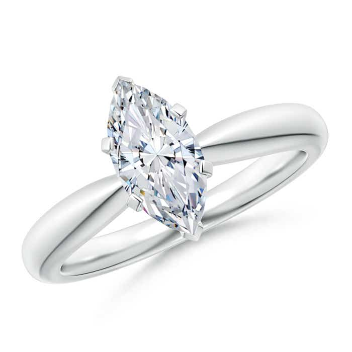 Tapered Shank Solitaire Marquise Cut Diamond Ring - Angara.com
