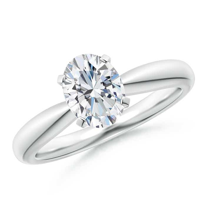 Tapered Shank Oval Solitaire Diamond Ring - Angara.com