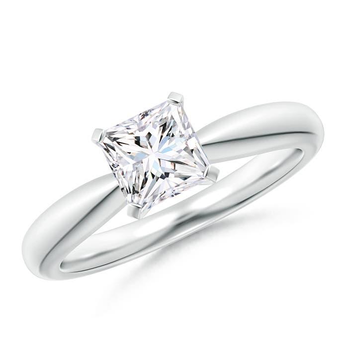 Solitaire Tapered Shank Princess Cut Diamond Ring - Angara.com