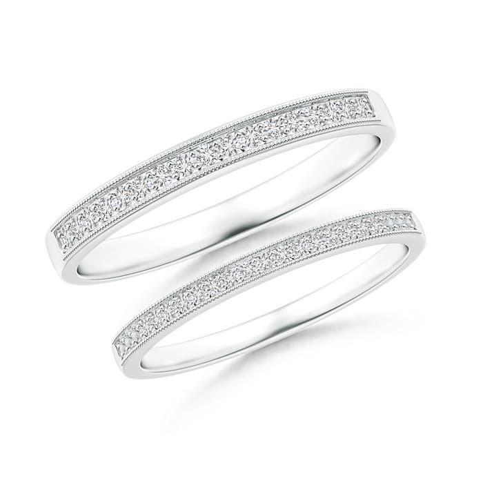 Pave-Set Diamond Half Eternity Wedding Band Set - Angara.com