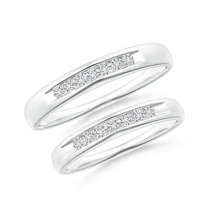 Channel Grooved Classic Diamond Wedding Band Set - Angara.com