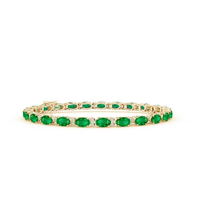 Classic Oval Emerald and Diamond Tennis Bracelet - Angara.com
