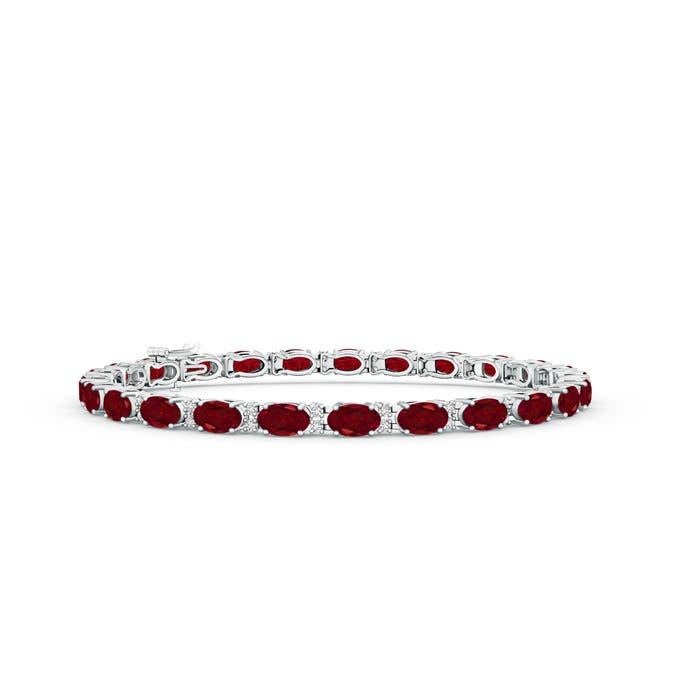 Classic Oval Garnet and Diamond Tennis Bracelet - Angara.com
