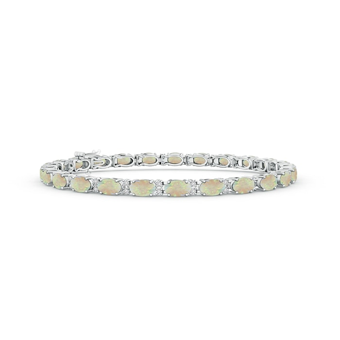 Classic Oval Opal and Diamond Tennis Bracelet - Angara.com