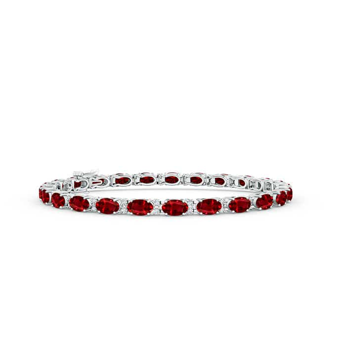This Item Clic Oval Ruby And Diamond Tennis Bracelet 11 229