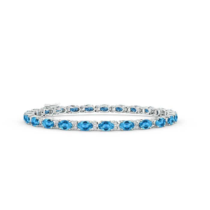 Classic Oval Swiss Blue Topaz and Diamond Tennis Bracelet - Angara.com