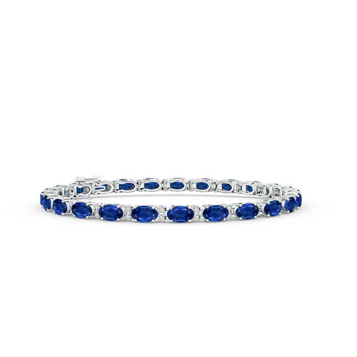 Classic Oval Blue Sapphire and Diamond Tennis Bracelet - Angara.com