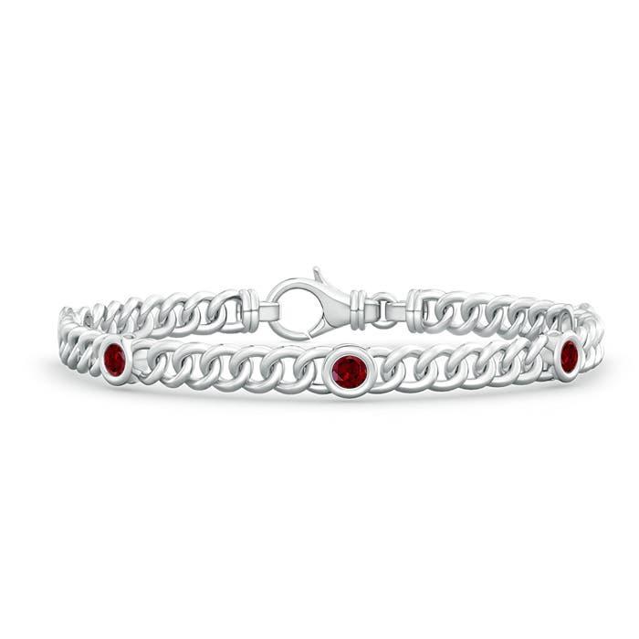 Bezel Set Curb Chain Link Garnet Bracelet - Angara.com
