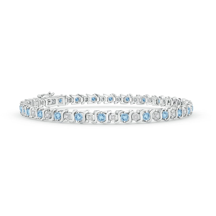 Angara Diamond Curb Chain Link Bracelet in White Gold NKg5Lb