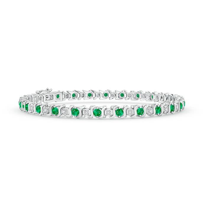 S Curl Emerald and Diamond Tennis Bracelet - Angara.com