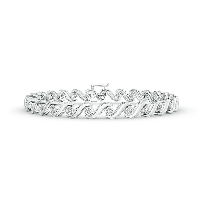 Angara Four Prong Set Diamond Eternity Bracelet in White Gold NANek4