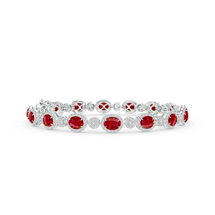 This Item Claw Set Oval Halo Ruby And Diamond Tennis Bracelet 10 849