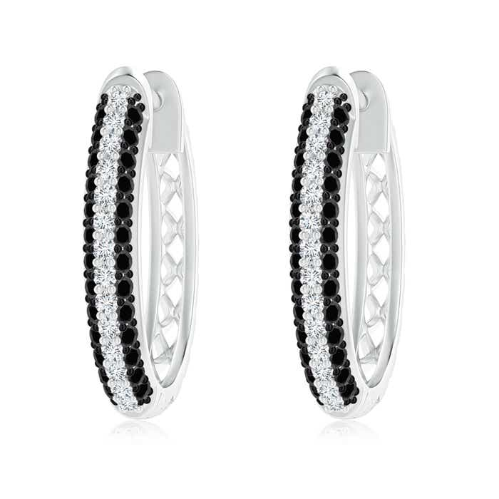 Pave Enhanced Black and White Diamond Hoop Earrings White Gold