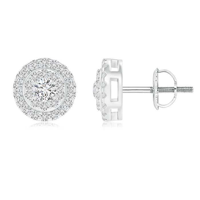 Circular Diamond Double Halo Stud Earrings - Angara.com