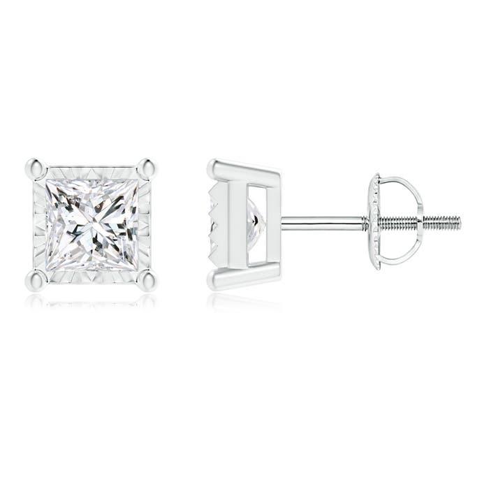 Miracle Solitaire Diamond Princess-Cut Stud Earrings - Angara.com