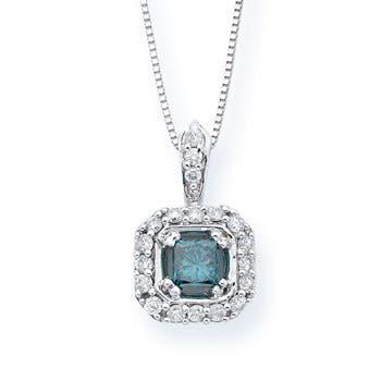 Emerald Cut Enhanced Blue Diamond Halo Pendant in White Gold - Angara.com