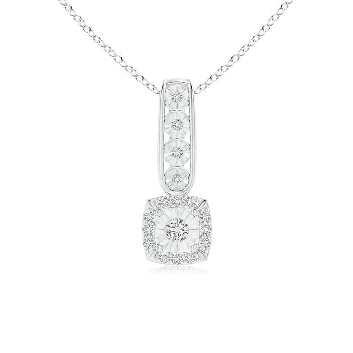Miracle Solitaire Diamond Cushion Halo Loop Pendant - Angara.com