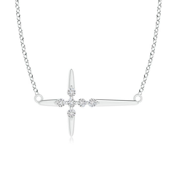 Floating Round Diamond Sideways Cross Necklace - Angara.com