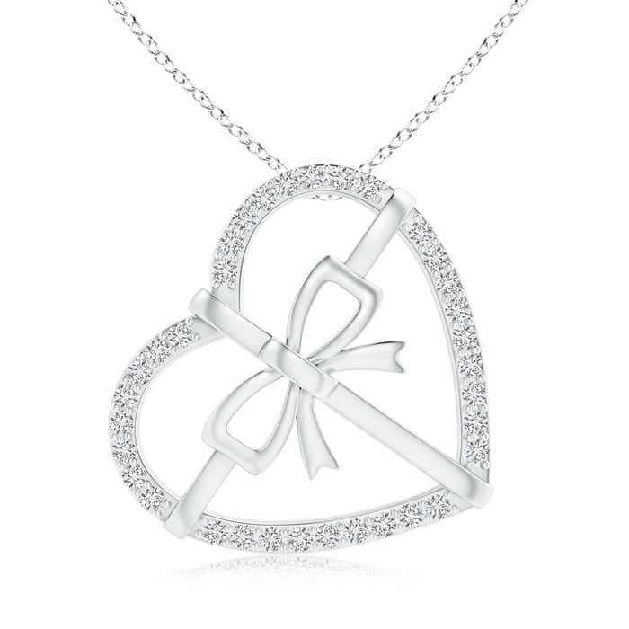 Tilted Round Diamond Bow Tie Heart Pendant - Angara.com