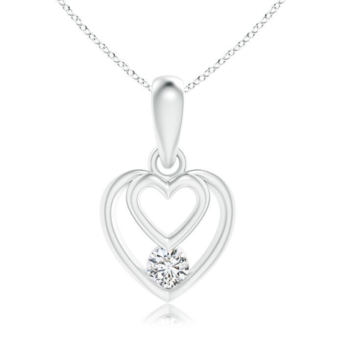 Round Solitaire Diamond Concentric Heart Dangle Pendant - Angara.com