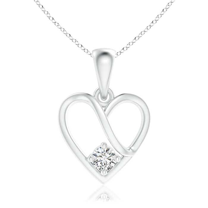 Solitaire Round Diamond Ribbon Heart Dangle Pendant - Angara.com