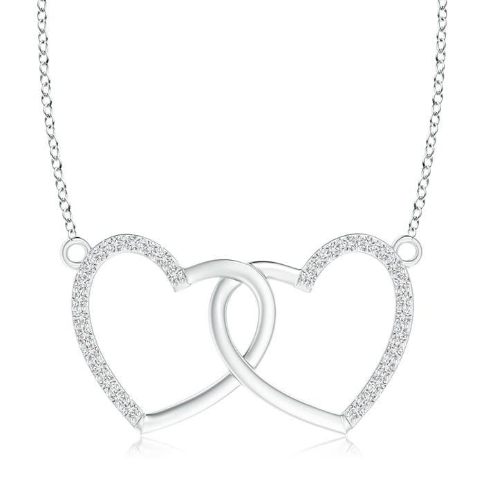Interlocking Diamond Twin Heart Necklace Pendant - Angara.com
