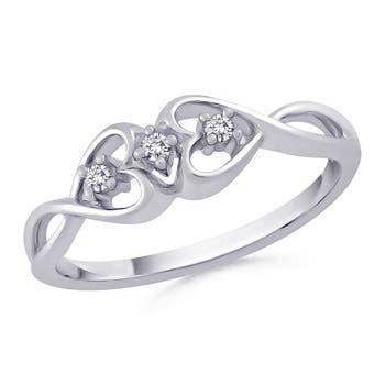 Twin Infinity Heart Diamond Three Stone Ring - Angara.com