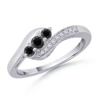 Enhanced Black Diamond Three Stone Ring with Diamond Accent - Angara.com