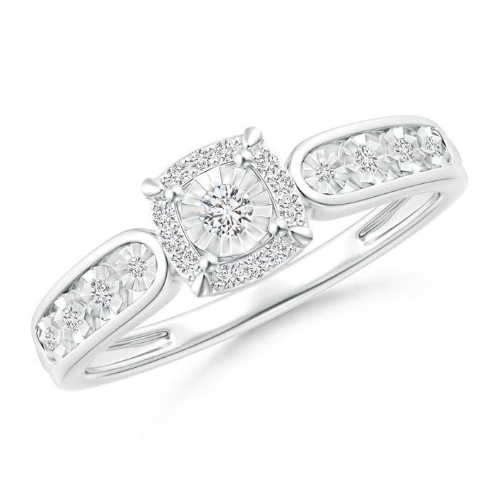Miracle Solitaire Diamond Cushion Halo Loop Ring - Angara.com