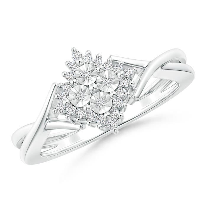Criss-Cross Miracle-Set Diamond Waterfall Ring - Angara.com