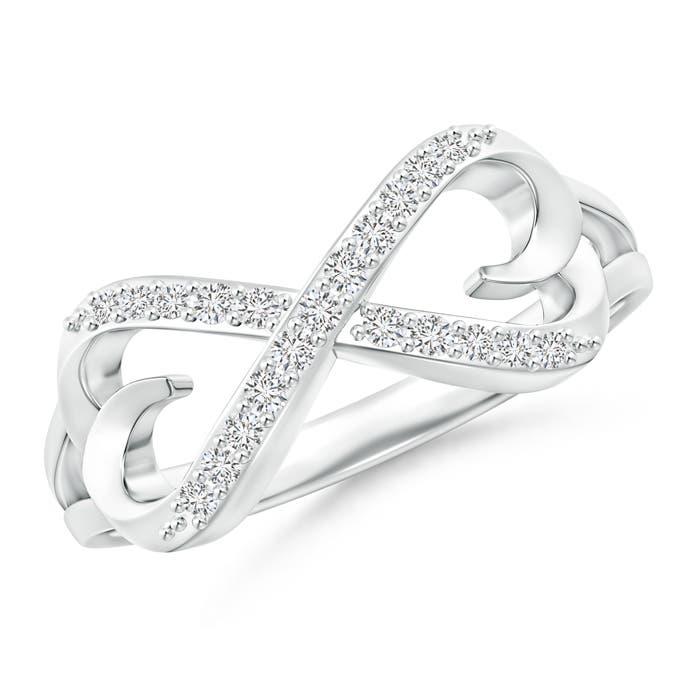 Split-Shank Round Diamond Infinity Heart Ring - Angara.com