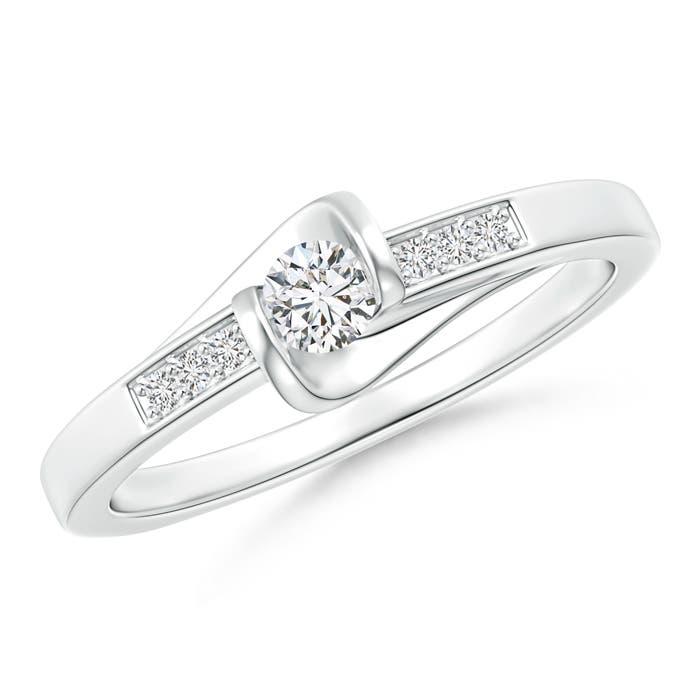 Bar-Set Solitaire Round Diamond Bypass Promise Ring - Angara.com