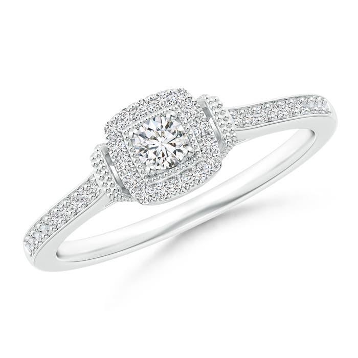 Cushion Halo Diamond Milgrain Collar Ring - Angara.com