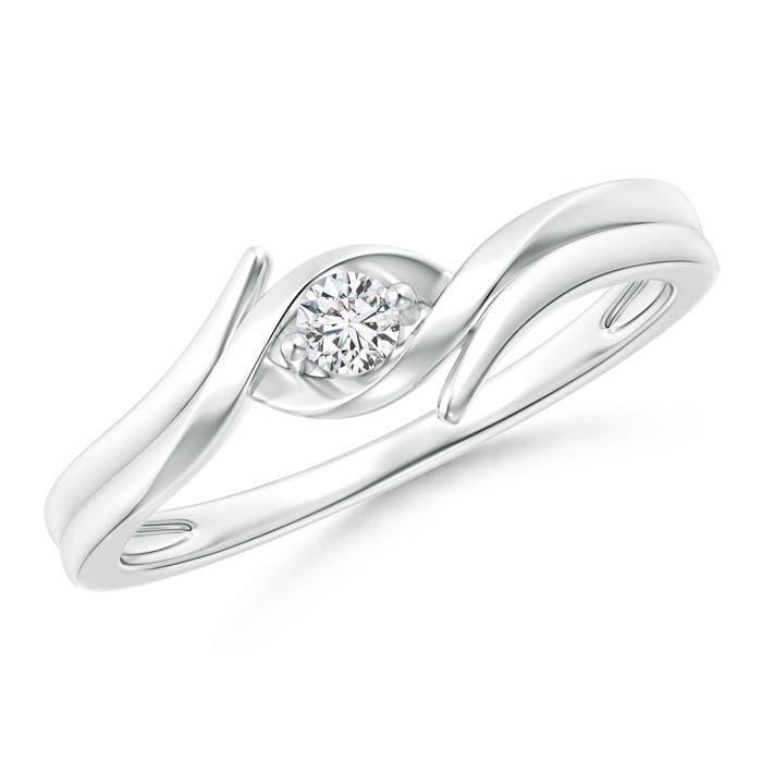 Solitaire Round Diamond Ribbon Bypass Ring - Angara.com