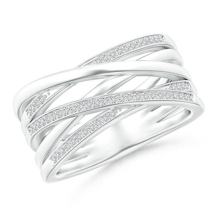 Pave-Set Diamond Criss-Cross Wedding Band - Angara.com