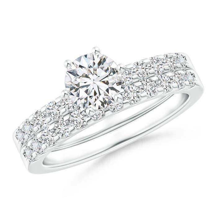 Six-Prong Set Round Diamond Solitaire Bridal Ring Set - Angara.com