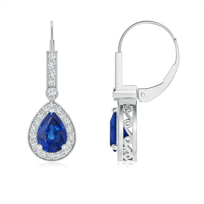 Angara Blue Sapphire Dangle Earrings in 14k White Gold vJeKrMsxN