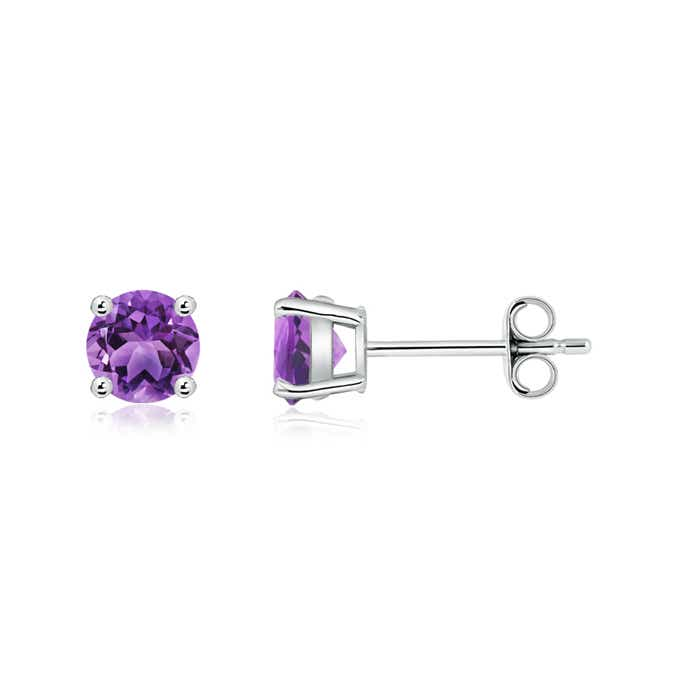 Angara Round Amethyst Stud Earrings in Yellow Gold HvjkG99